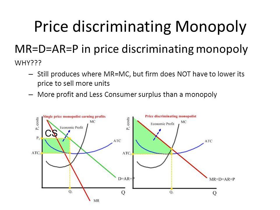 Price discriminating Monopoly MR=D=AR=P in price discriminating monopoly WHY??.