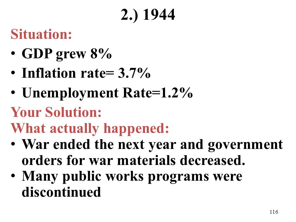 2.) 1944 Situation: GDP grew 8% Inflation rate= 3.7% Unemployment Rate=1.2% Your Solution: What actually happened: War ended the next year and governm