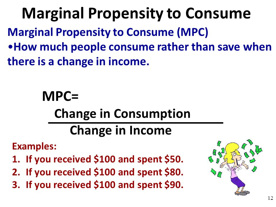 Marginal Propensity to Consume Marginal Propensity to Consume (MPC) How much people consume rather than save when there is a change in income. MPC= Ch
