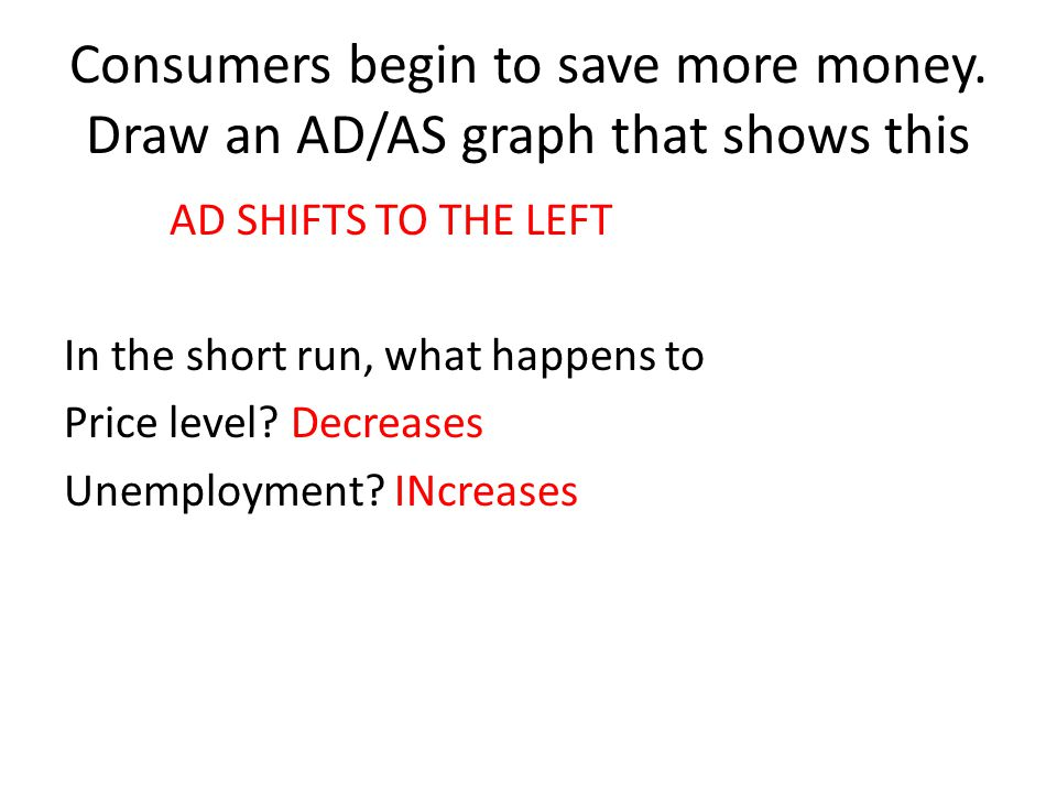 Consumers begin to save more money. Draw an AD/AS graph that shows this AD SHIFTS TO THE LEFT In the short run, what happens to Price level? Decreases