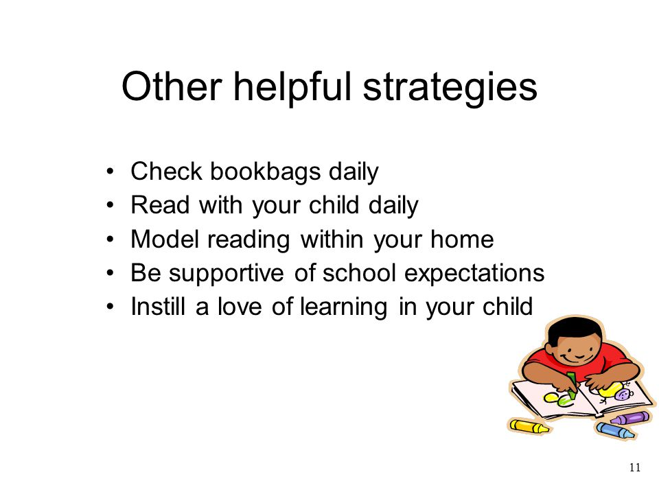11 Other helpful strategies Check bookbags daily Read with your child daily Model reading within your home Be supportive of school expectations Instil