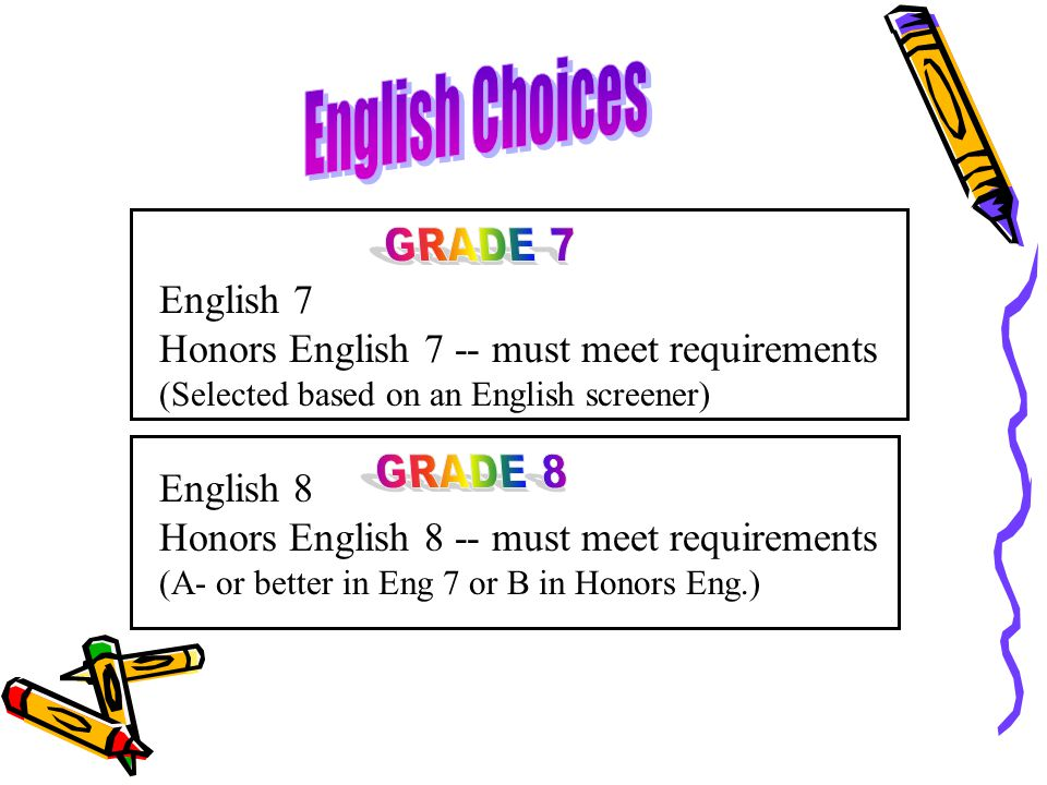 English 7 Honors English 7 -- must meet requirements (Selected based on an English screener) English 8 Honors English 8 -- must meet requirements (A-