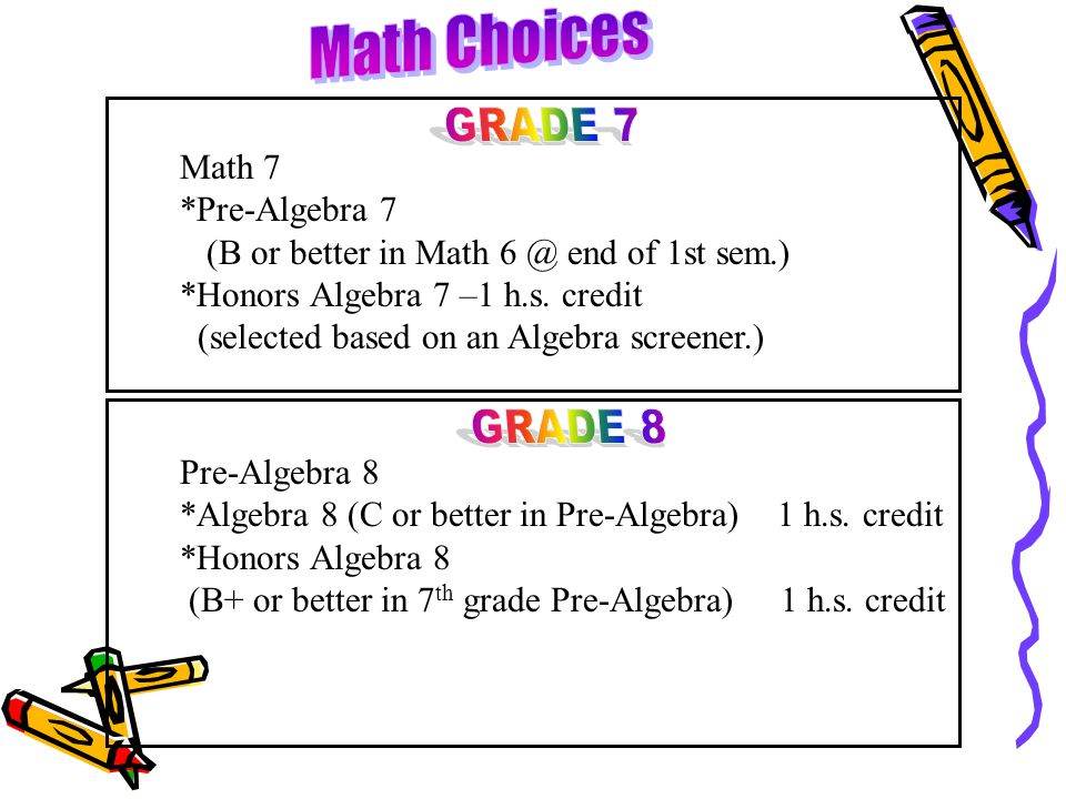 Math 7 *Pre-Algebra 7 (B or better in Math 6 @ end of 1st sem.) *Honors Algebra 7 –1 h.s. credit (selected based on an Algebra screener.) Pre-Algebra