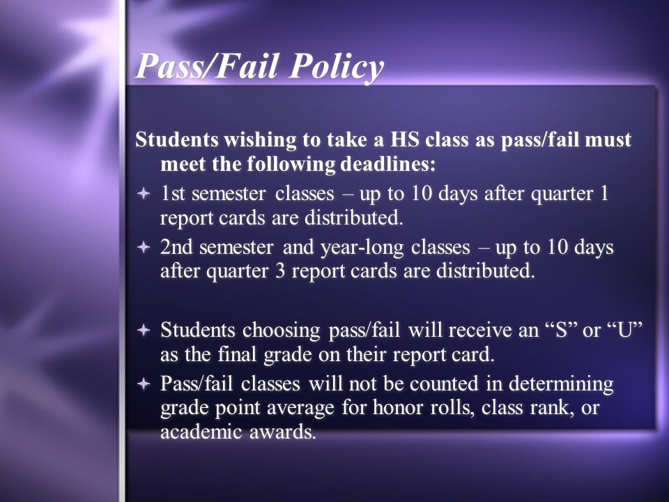 High School Credit Classes  All high school classes must be taken for HS credit.