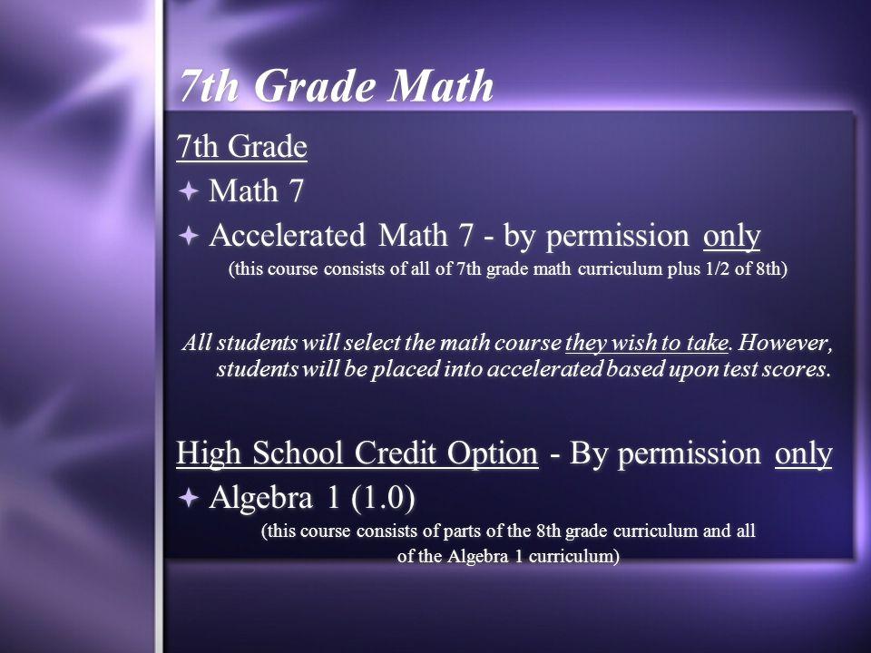 English 7th Grade  English 7  Accelerated Eng.