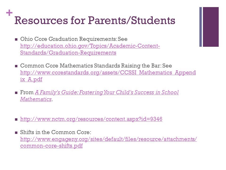 + Resources for Parents/Students Ohio Core Graduation Requirements: See http://education.ohio.gov/Topics/Academic-Content- Standards/Graduation-Requir