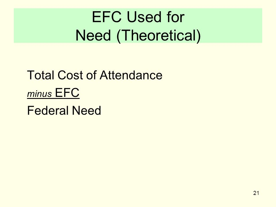 21 EFC Used for Need (Theoretical) Total Cost of Attendance minus EFC Federal Need