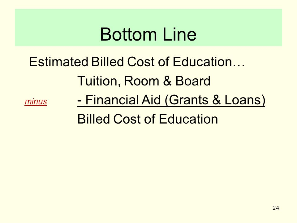 24 Bottom Line Estimated Billed Cost of Education… Tuition, Room & Board minus - Financial Aid (Grants & Loans) Billed Cost of Education