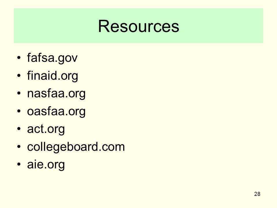 28 Resources fafsa.gov finaid.org nasfaa.org oasfaa.org act.org collegeboard.com aie.org