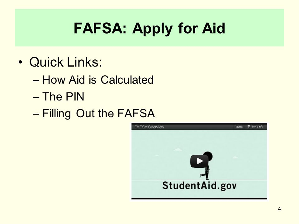 5 www.pin.ed.gov PIN for student and parent Sign your FAFSA electronically Check status Review and correct answers Sign promissory notes electronically View info about federal loans & grants Reapply for financial aid in the future