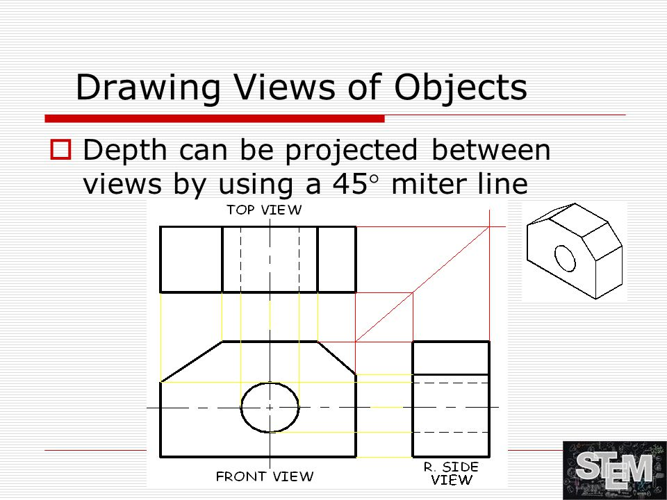 Drawing Views of Objects  Depth can be projected between views by using a 45 ° miter line