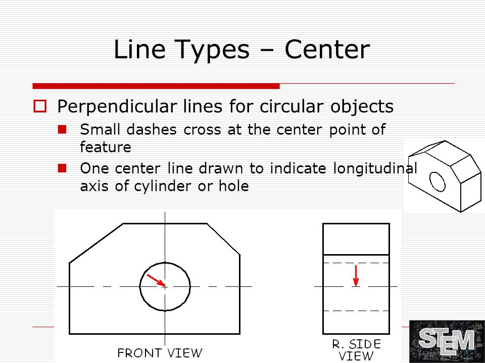 Line Types – Center  Perpendicular lines for circular objects Small dashes cross at the center point of feature One center line drawn to indicate lon