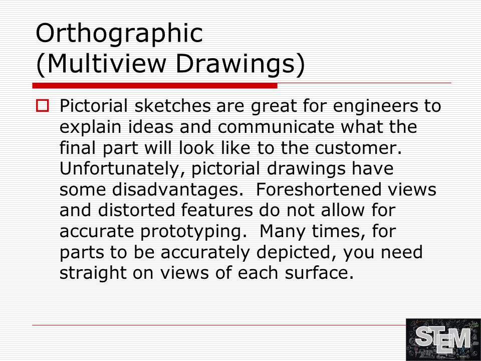 Orthographic (Multiview Drawings)  Pictorial sketches are great for engineers to explain ideas and communicate what the final part will look like to