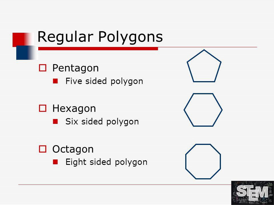 Regular Polygons  Pentagon Five sided polygon  Hexagon Six sided polygon  Octagon Eight sided polygon