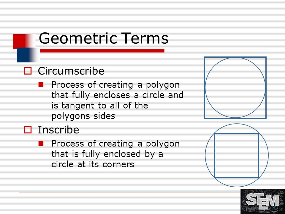 Geometric Terms  Circumscribe Process of creating a polygon that fully encloses a circle and is tangent to all of the polygons sides  Inscribe Proce