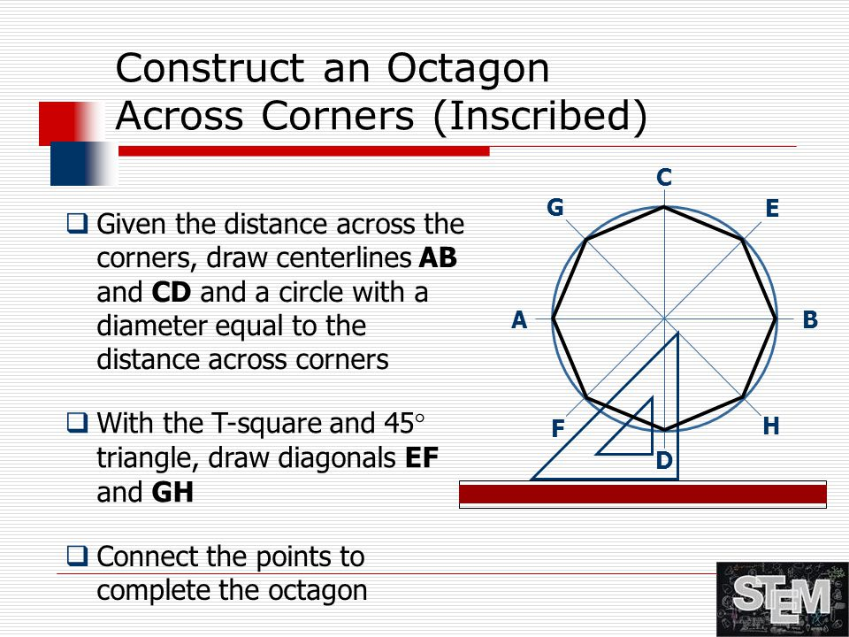 Construct an Octagon Across Corners (Inscribed)  Given the distance across the corners, draw centerlines AB and CD and a circle with a diameter equal