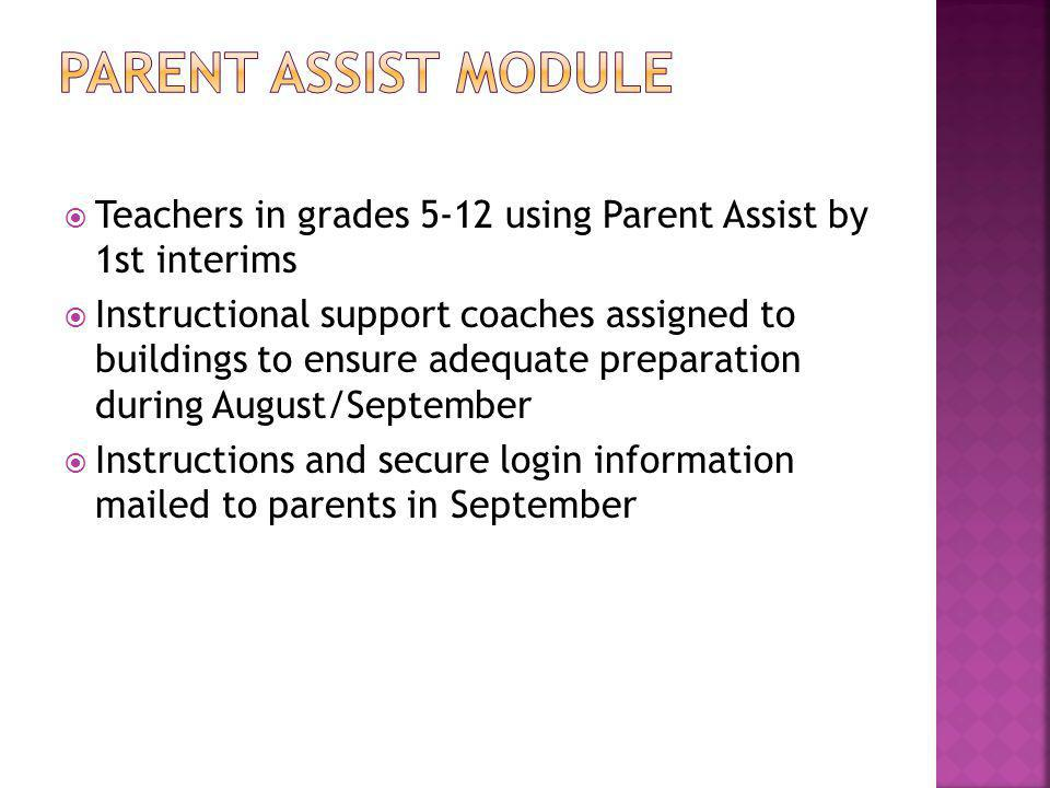  Teachers in grades 5-12 using Parent Assist by 1st interims  Instructional support coaches assigned to buildings to ensure adequate preparation during August/September  Instructions and secure login information mailed to parents in September