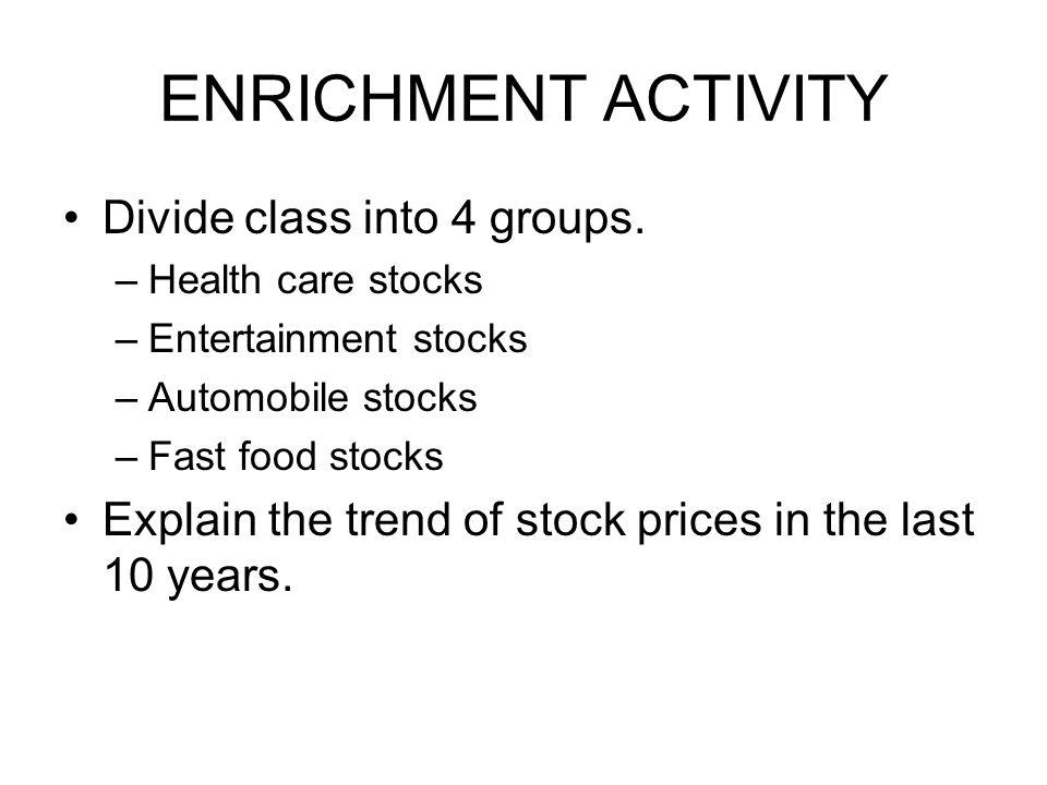 ENRICHMENT ACTIVITY Divide class into 4 groups.