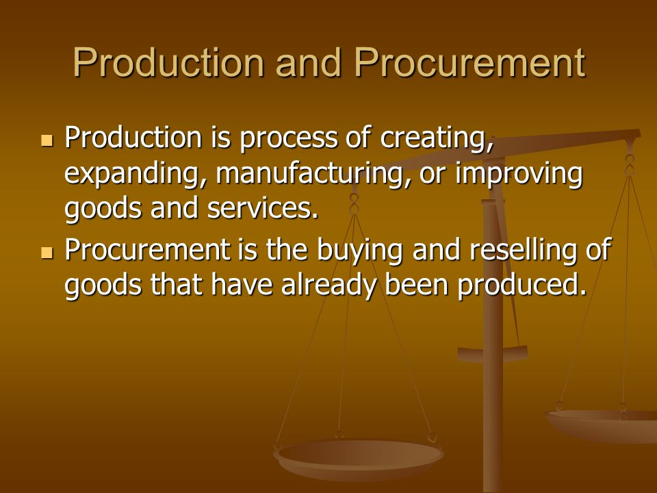 Production and Procurement Production is process of creating, expanding, manufacturing, or improving goods and services. Production is process of crea