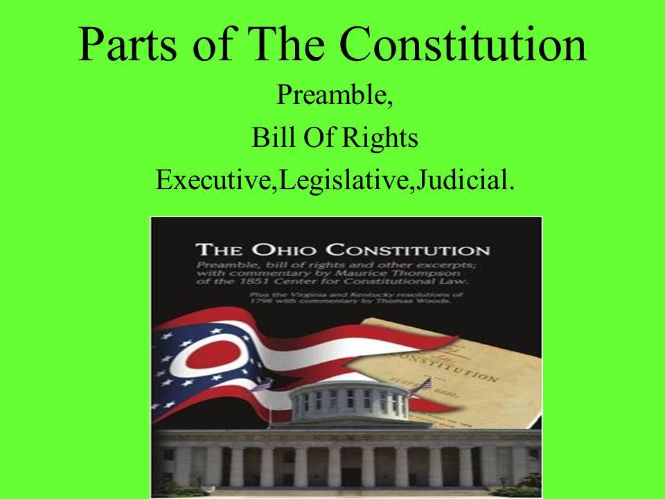 Parts of The Constitution Preamble, Bill Of Rights Executive,Legislative,Judicial.