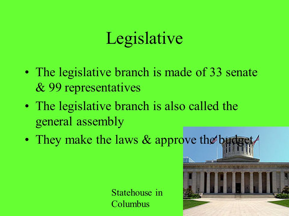 Legislative The legislative branch is made of 33 senate & 99 representatives The legislative branch is also called the general assembly They make the