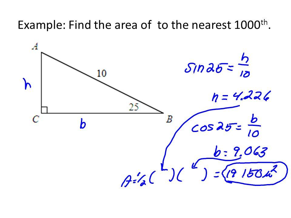 Example: A triangle has an area of 56 and a base of 10. Find its height.