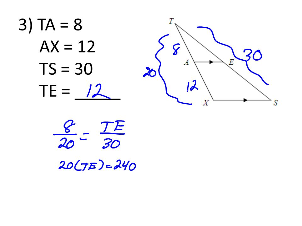 3) TA = 8 AX = 12 TS = 30 TE = _____
