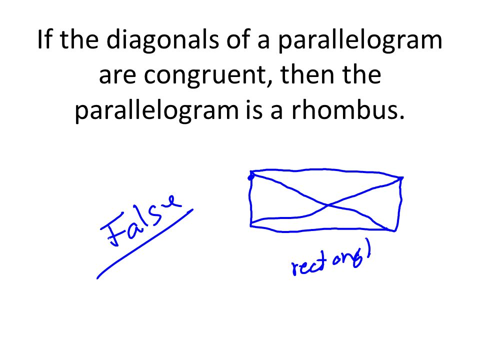 If the diagonals of a parallelogram are congruent, then the parallelogram is a rhombus.