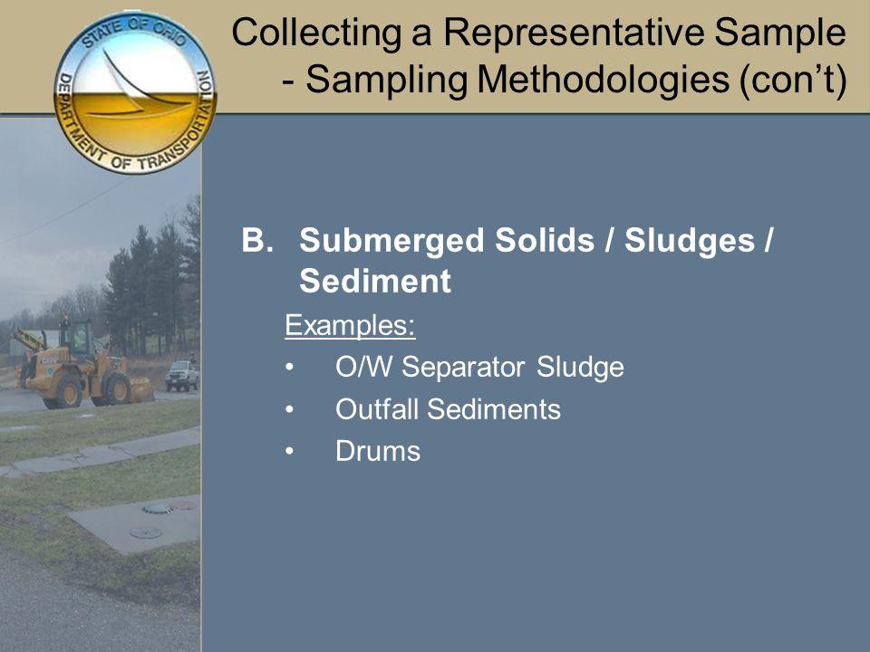 Collecting a Representative Sample - Sampling Methodologies (con't) Submerged Soils / Sludges / Sediments Sampling Spoon, Trowel, or Scoop Sludge Sampler Dredge Sampler