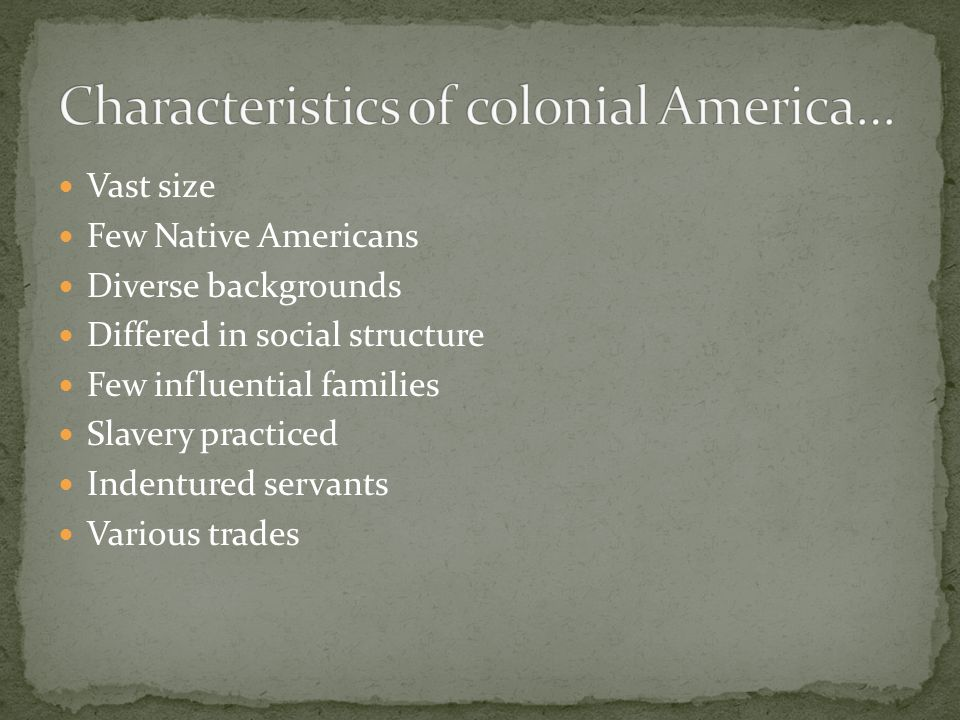 Vast size Few Native Americans Diverse backgrounds Differed in social structure Few influential families Slavery practiced Indentured servants Various trades