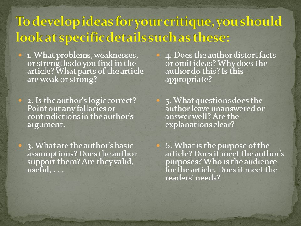 Pattern B Introduction Relevance Summary Thesis Good points Bad points Your response Conclusion + Recommendation (article not so good) Note: Give bad points first if you think the article is good) : Pattern A Introduction Relevance Summary Thesis Your response Conclusion + Recommendation Be sure each paragraph has a specific purpose.