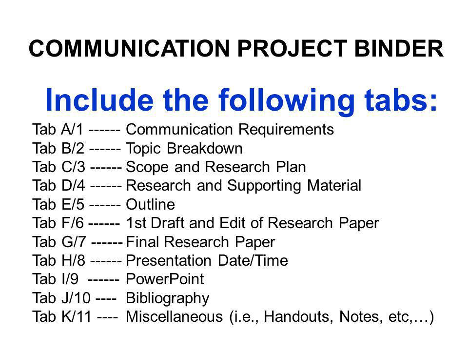 TAB H/8 Presentation Location, Date, and Time (Due 1 May 13) COMMUNICATION PROJECT BINDER