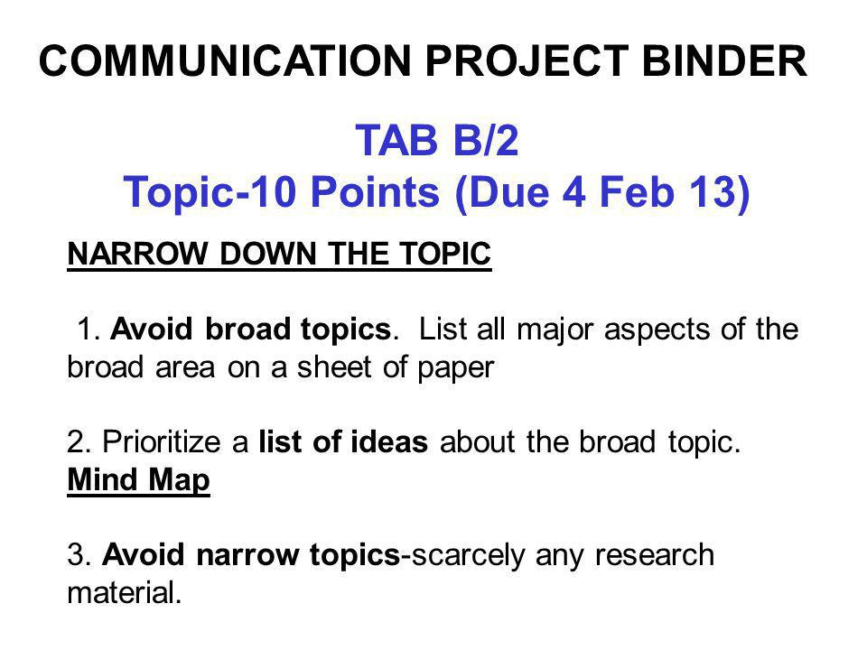TAB B/2 Topic-10 Points (Due 4 Feb 13) NARROW DOWN THE TOPIC 1. Avoid broad topics. List all major aspects of the broad area on a sheet of paper 2. Pr