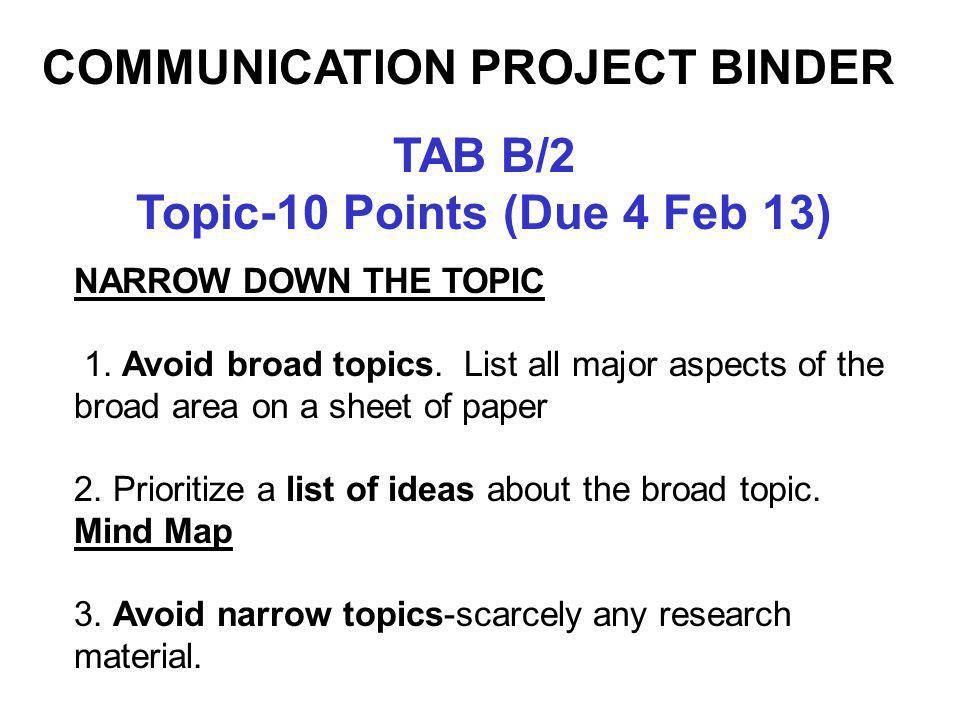 TAB B/2 Topic-10 Points (Due 4 Feb 13) NARROW DOWN THE TOPIC 1.