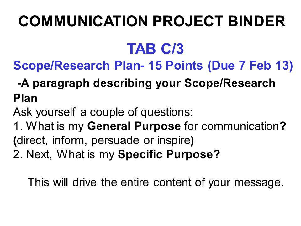TAB D/4 Research and Supporting Material --20 Points (Due 6 Mar 13) Conduct Research/Support Material Ideas COMMUNICATION PROJECT BINDER