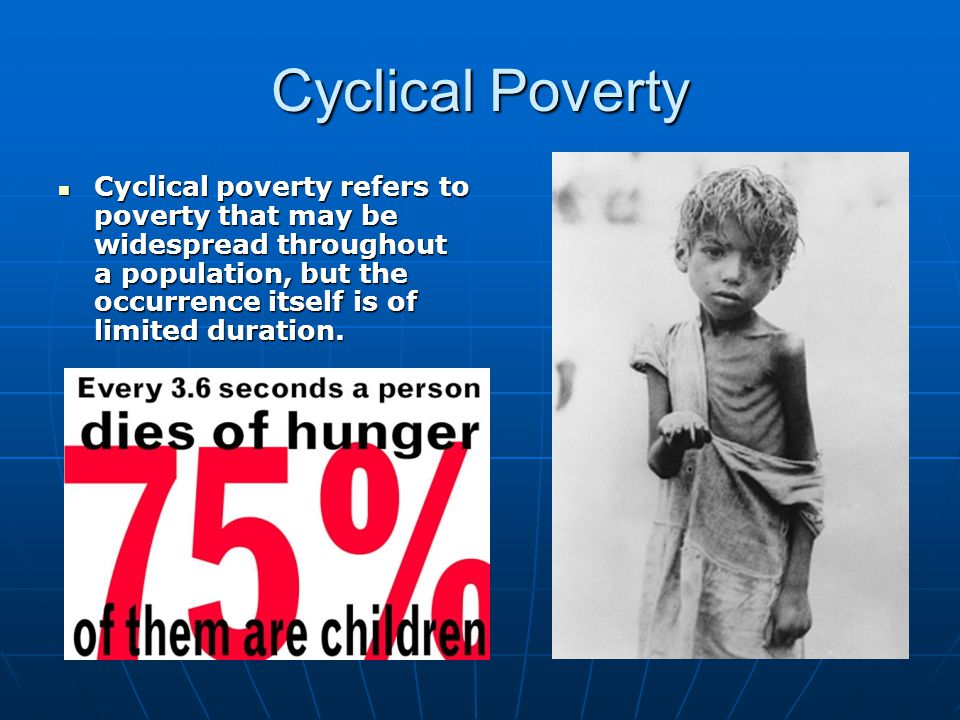Cyclical Poverty Cyclical poverty refers to poverty that may be widespread throughout a population, but the occurrence itself is of limited duration.
