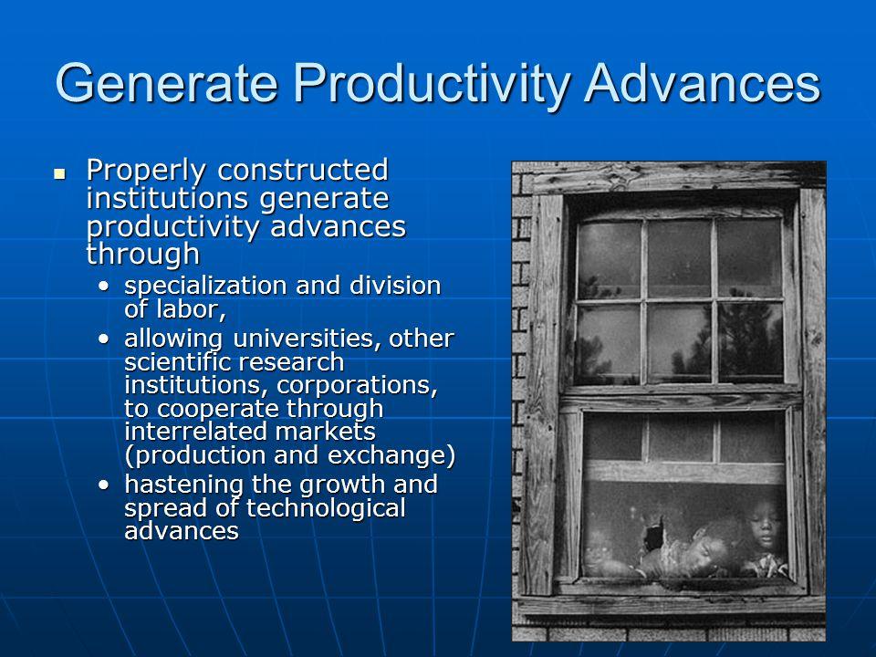 Generate Productivity Advances Properly constructed institutions generate productivity advances through Properly constructed institutions generate pro