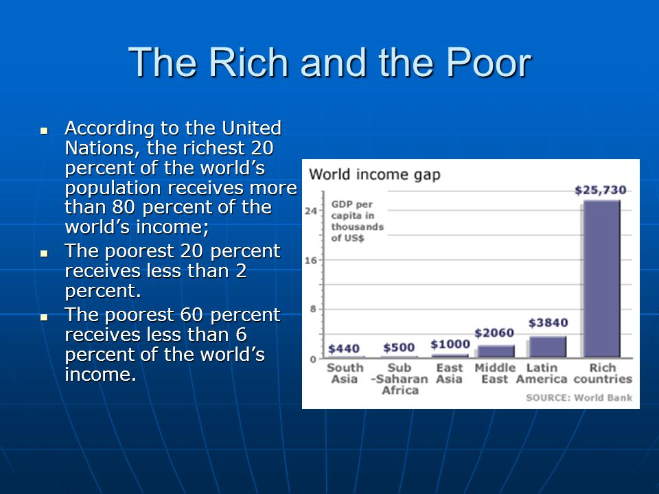 The Rich and the Poor According to the United Nations, the richest 20 percent of the world's population receives more than 80 percent of the world's i