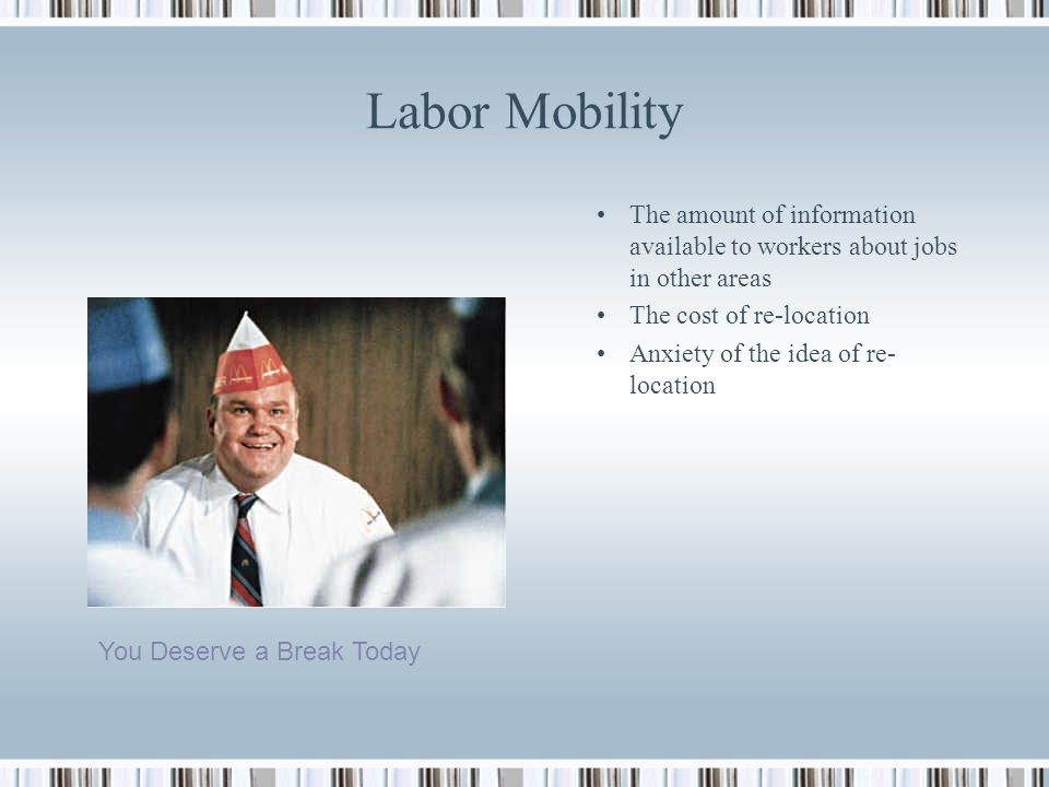 Not another Elasticity!! Geographical mobility of labour: The willingness of people to move The cost and availability of housing in different areas Th