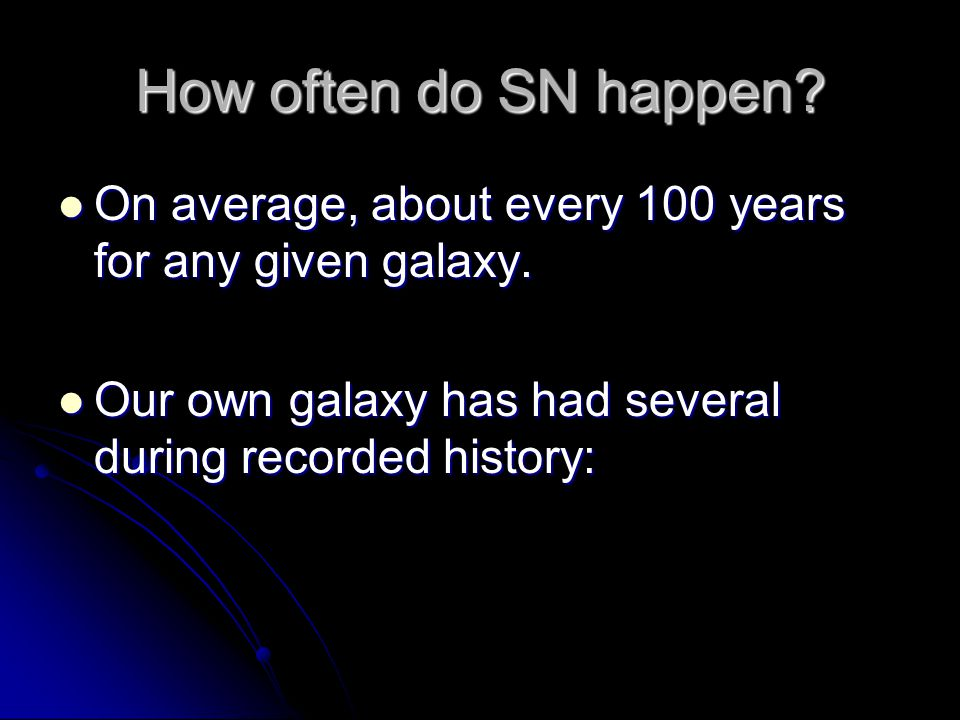 How often do SN happen? On average, about every 100 years for any given galaxy. On average, about every 100 years for any given galaxy. Our own galaxy