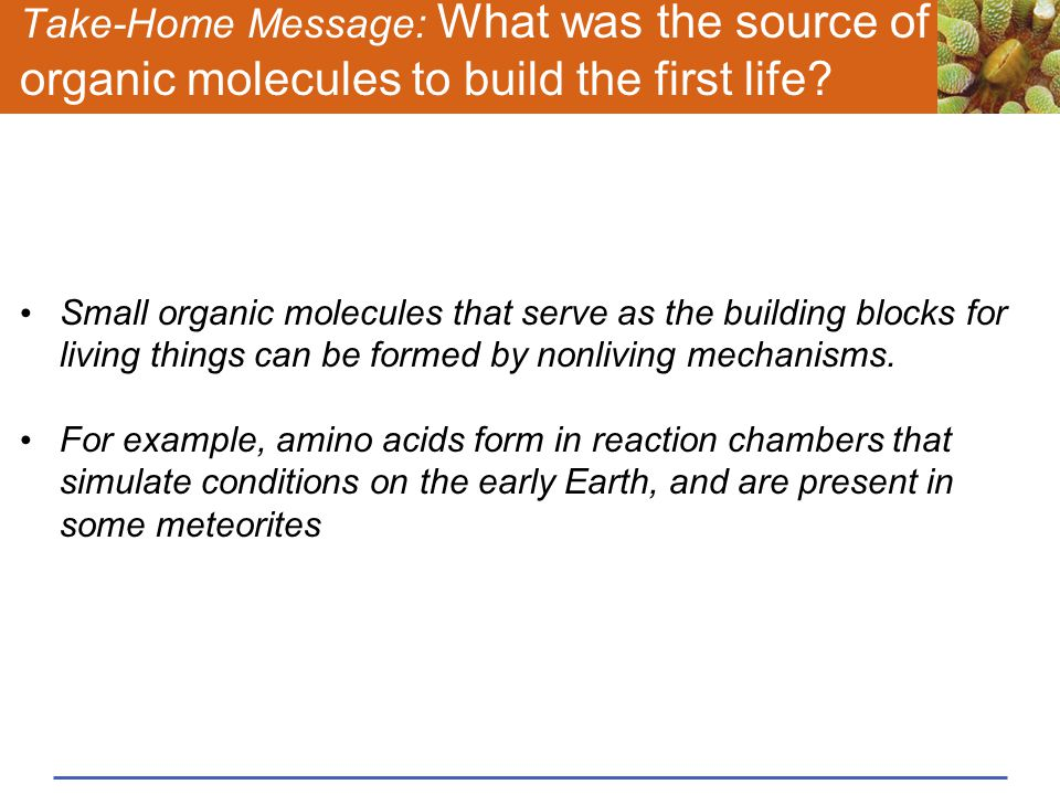 Take-Home Message: What was the source of organic molecules to build the first life? Small organic molecules that serve as the building blocks for liv