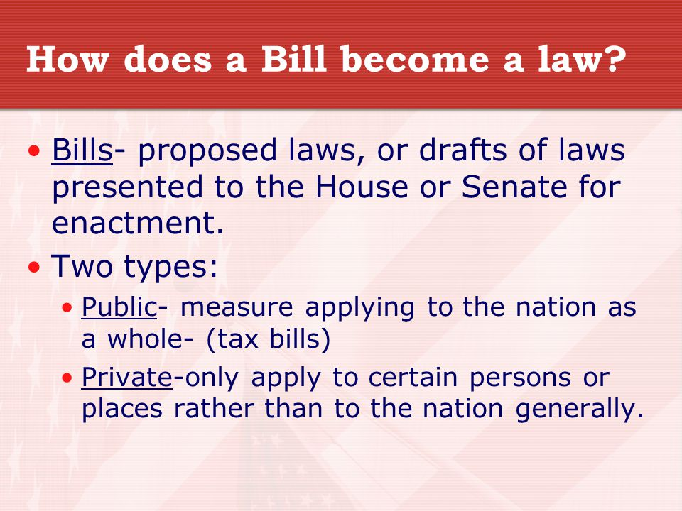 How does a Bill become a law.