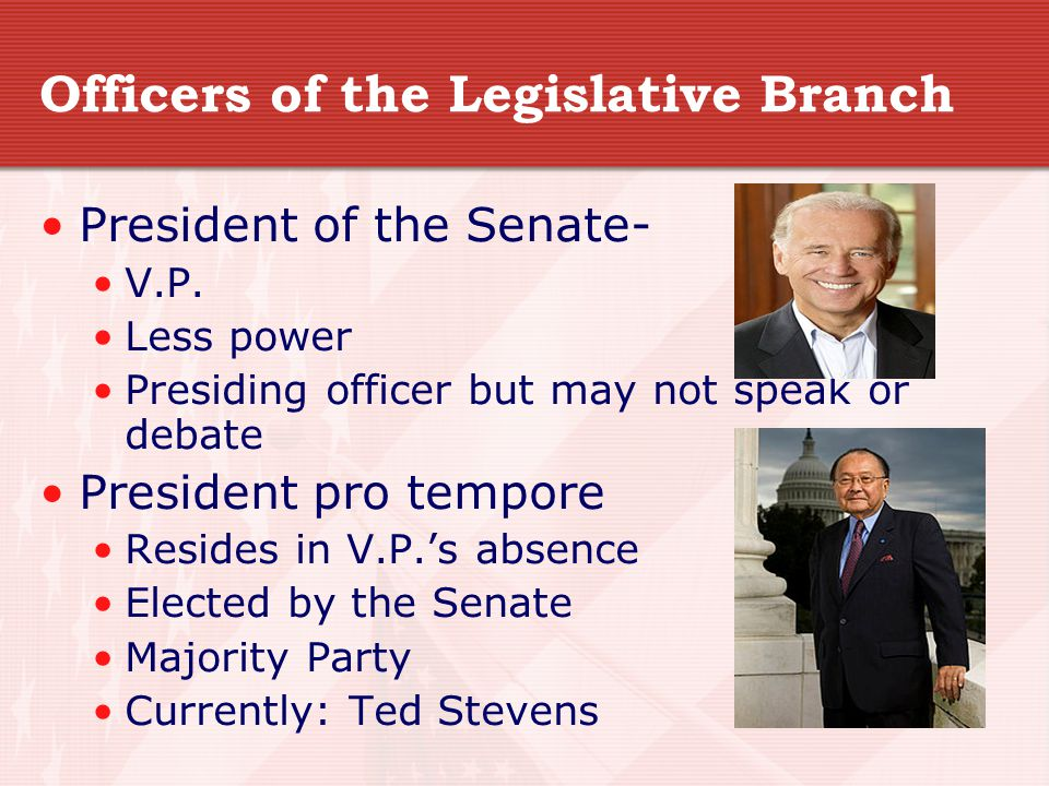 Officers of the Legislative Branch President of the Senate- V.P.
