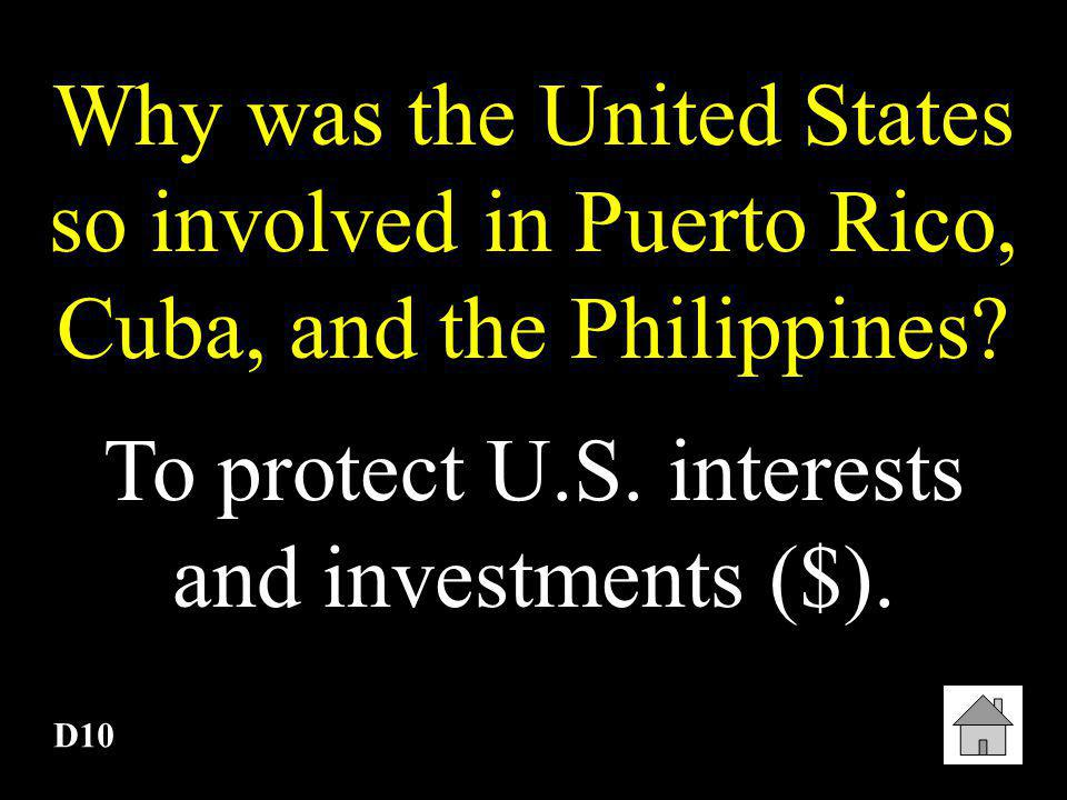 D9 A series of provisions that, in 1901, the United States insisted Cuba add to its constitution. Platt Amendment