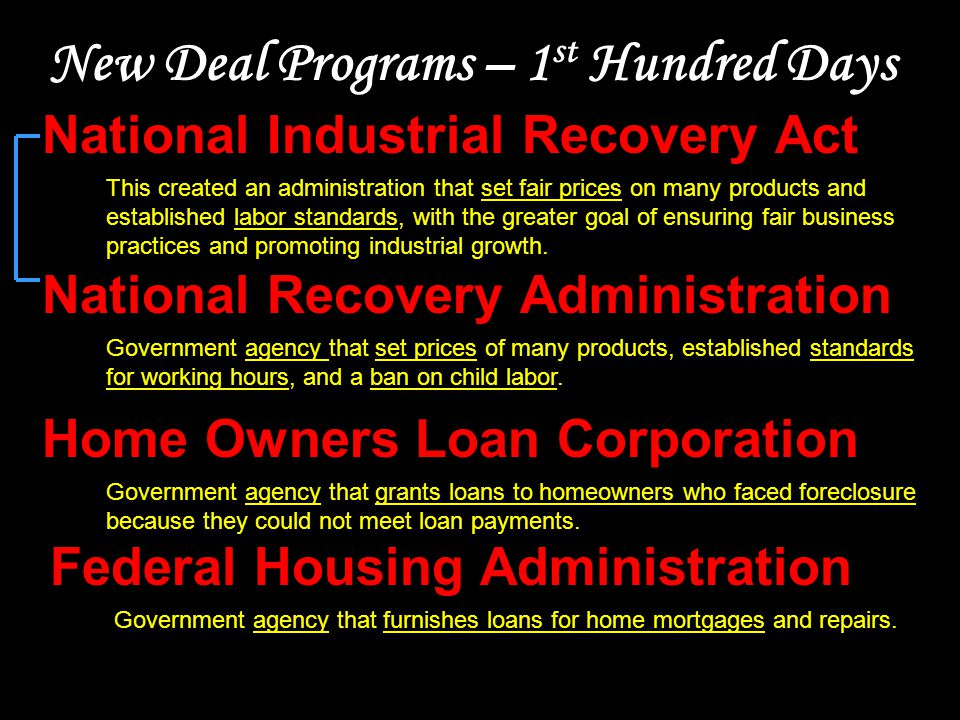 New Deal Programs – 2 nd Hundred Days Works Progress Administration Agency created to create jobs for professionals from construction jobs to positions in symphony orchestras.