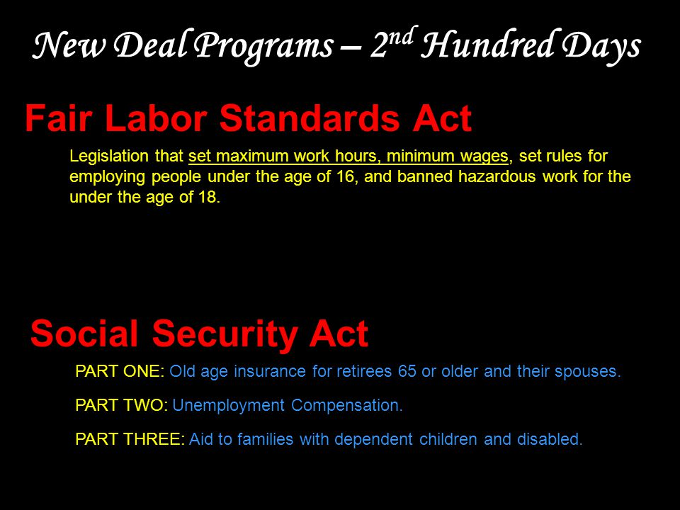 New Deal Programs – 2 nd Hundred Days Social Security Act PART ONE: Old age insurance for retirees 65 or older and their spouses. PART TWO: Unemployme