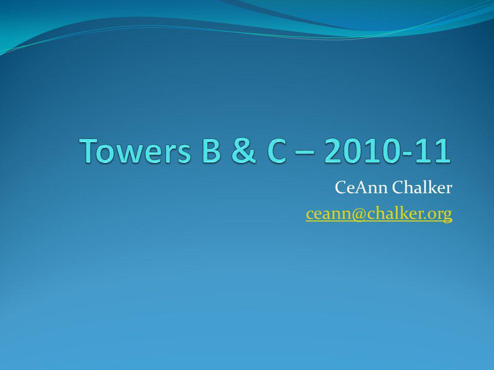 Towers Testing cont'd Load Supported includes – Loading block Eyebolt Washer Wing nut Bucket Sand
