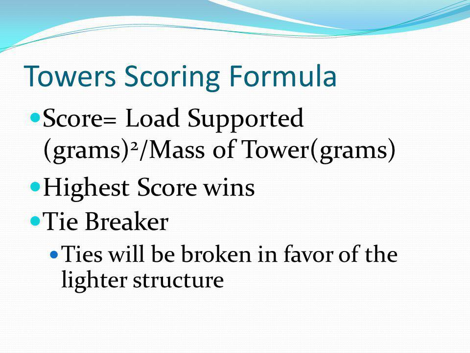 Towers Scoring Formula Score= Load Supported (grams) 2 /Mass of Tower(grams) Highest Score wins Tie Breaker Ties will be broken in favor of the lighte
