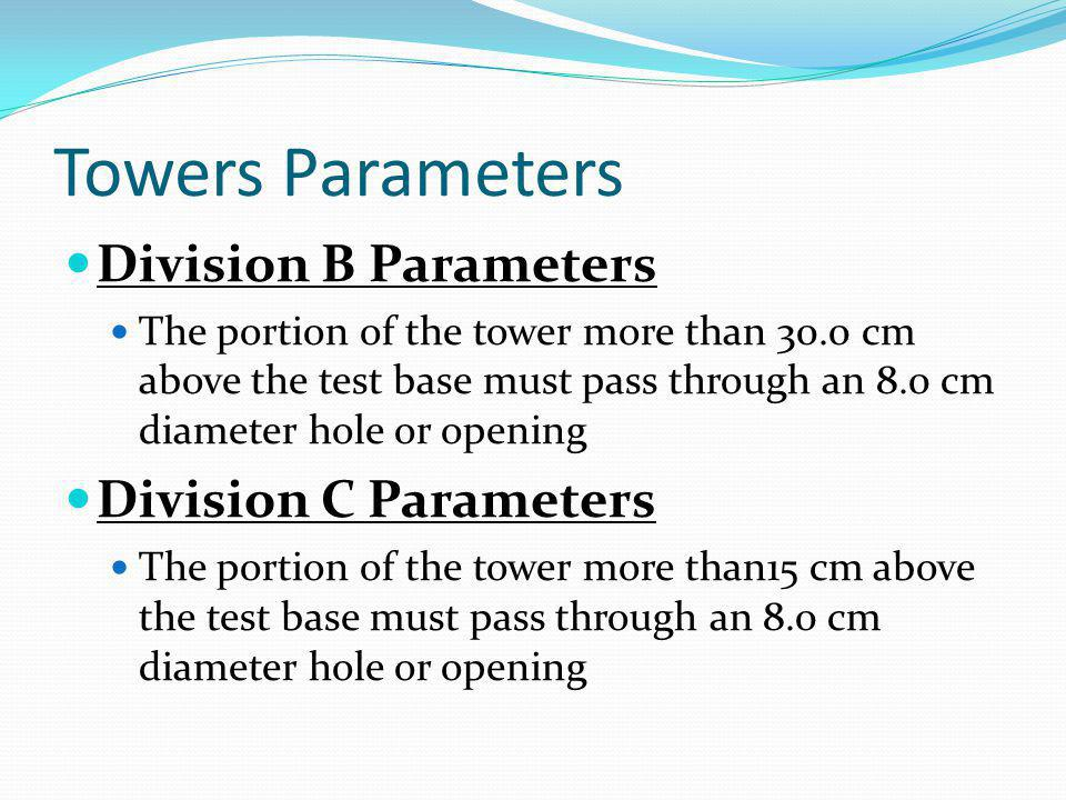 Towers Parameters Division B Parameters The portion of the tower more than 30.0 cm above the test base must pass through an 8.0 cm diameter hole or op