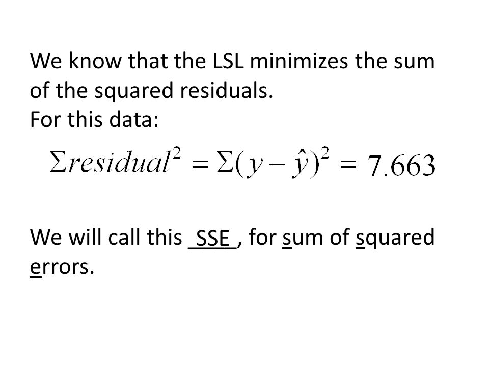 We know that the LSL minimizes the sum of the squared residuals. For this data: We will call this ____, for sum of squared errors. SSE
